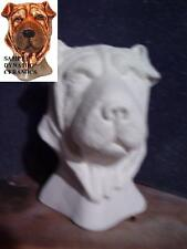 Shar-pei Dog Bust ready to Paint Ceramic Bisque animal Head