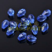 New 50pcs 7X5mm Teardrop Faceted Crystal Glass Spacer Loose Beads Light Blue