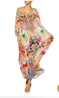 CAMILLA FRANKS SILK SWAROVSKI FLOWER HOUR ROUND NECK KAFTAN DRESS layby availabl