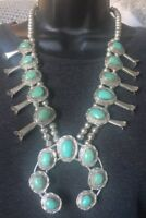 """SIGNED/STAMPED"" 24"" NAVAJO TURQUOISE & STERLING SILVER SQUASH BLOSSOM NECKLACE"