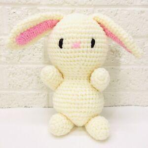 "NEW‼ Handmade Crochet Knit 10"" BUNNY RABBIT Stuffed Animal Plush Toy Easter"