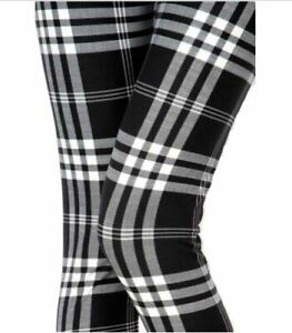 Extra Plus Black White Plaid Leggings Fits Sizes 16-22 NWT