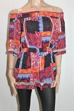 PINK FASHION Brand Multi Print Off Shoulder Blouse Top Size 10 BNWT #SS03