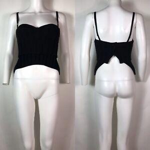 Rare Vtg Dolce & Gabbana Black Knit Bustier Corset Top XS