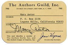 Mary Astor 1968 Authors Guild Membership Card Signed