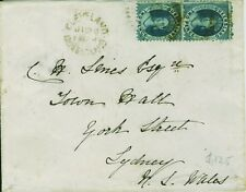 Cover from Cleveland to Sydney bearing 2 x 2d p13 blue chalons,