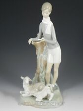 Lladro Tall Figurine BOY with SHEEP LAMB READING BOOK #4509 Retired Mint