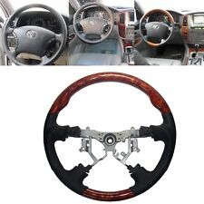 Black Leather Wood Steering Wheel for 03-07 Toyota Landcruiser FJ100 Prado FJ120