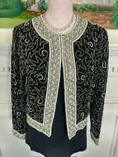 Laurence Kazar NY Small sequined embroidered formal jacket black lined LS boxy
