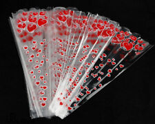 100pcs Valentines Love Gift Red Heart Print Cellophane Rose Flower Bouquet Bags
