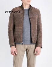 NWT MICHAEL KORS Men's Brown Quilted Suede 100% Goat Leather Cafe Racer Jacket
