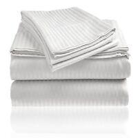 Luxury Hotel Collection Egyptian Cotton Bedding Sets 1000TC White Strip UK Size