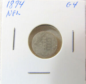 1894 NEWFOUNDLAND - 5 cents SILVER coin Graded Good4