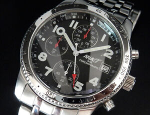 Working ANA Official Japan Airline Airplane Chronograph Quartz Mens Black Watch