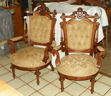 Pair Walnut Carved John Jelliff His Her Parlor Chairs  (SC205)