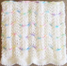 NEW Handmade WHITE Knit Crochet BABY Afghan Blanket Infant Soft Newborn