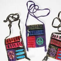 Brustbeutel Tasche Etui  kleine Tasche Indien Hippie Goa Patchwork OM Peace