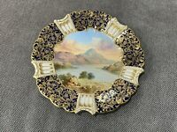 Antique Aynsley English Porcelain Cobalt Gold Plate Painted Lake Loch Lomond