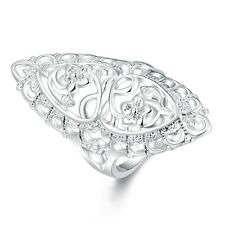 2017 925 sterling Solid silver Classical carved rings size6 #217