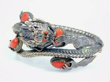 Antique Vintage Oriental Chinese Sterling Silver Red Coral Dragon Bracelet
