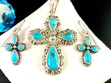 BARSE 925 STERLING SILVER TURQUOISE STONE CROSS PENDANT FRENCH WIRE EARRINGS SET