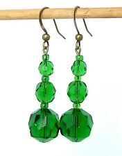 Vintage sparkly Art Deco green crystal bead earrings to match 1930s necklaces