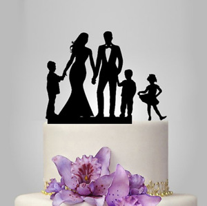 High Quality Groom Bride With Child Acrylic Loving Family Wedding Cake Topper