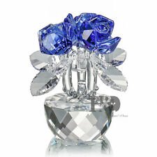 Sparkle Handmade Blue Crystal Rose Figurine Glass Xmas Gift Ornaments with Box