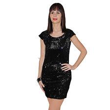 Neu Glitzer Pailletten Party Fest Kleid Minikleid Abendkleid Schwarz 34 36 38