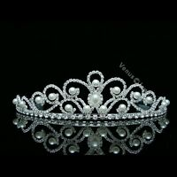 Gorgeous Bridal Rhinestones Crystal Pearl Wedding Crown Tiara 8507