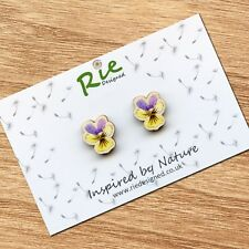 Wooden Wild Pansy Stud Earrings, Floral, Flower, Nature Gift