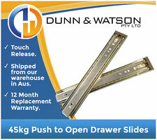 350mm 45kg Push to Open Drawer Slides / Fridge Runners - Kitchens, Trailer, 4wd