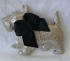 Scottie Dog 1930's Silver/ Chrome Pin Original Grosgrain Ribbon Scottish Terrier