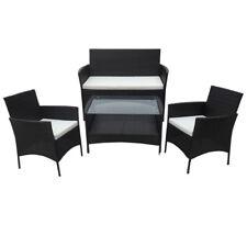 POLY RATTAN Lounge schwarz Sofa Garnitur Polyrattan Sitzgruppe Gartenmöbel SVITA