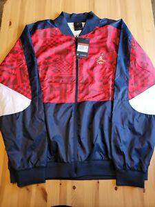 Men's Air Jordan Flight Legacy FIBA Jacket Blue Red White CJ9082-451 Size Large