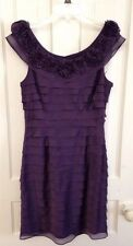 London Times Tiered Ruffle Dress w/Rosettes Purple/Eggplant SEXY/Romantic Size 8