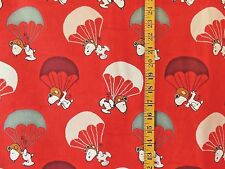 PEANUTS SNOOPY FLYING ACE PARACHUTING  100%  COTTON  FABRIC BY THE 1/2  YARD