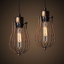 Vintage Industrial Metal Cage Bronze Cafe Loft Bar Pendant Light Lamp Shade