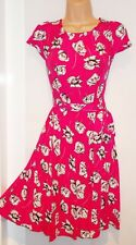 WALLIS dress Size 10 petite fit & flare pink poppy print tea dress Brand New