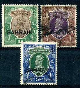 Weeda Bahrain 12, 33, 34 Sound used overprinted KGV & KGVI high values CV $44.50