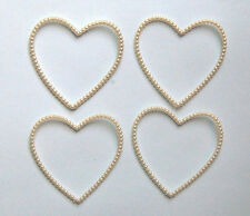 VINTAGE PLASTIC PEARL HEART PICTURE FRAME SCRAP BOOK SCRAPBOOKING CRAFT 2 inches