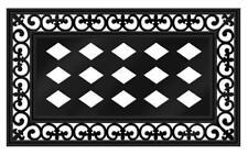 Outdoor Rubber Open Scroll Switch Insert Decor Door Floor Cover Mat Tray Black