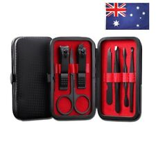 Nail Clipper Set Professional Multifunction Black Stainless Steel Leather Case