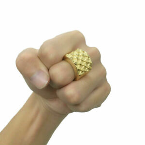 Gold Plated Keepers Ring Heavy 14K Polished Unisex Men Women Stainless Steel 3D
