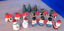 Lot of 15 Hand Painted MINIATURE Porcelain CHRISTMAS ORNAMENTS~Train,House,Snow