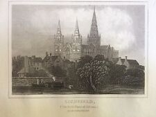c.1845 Print; View of the City of Lichfield, Staffs