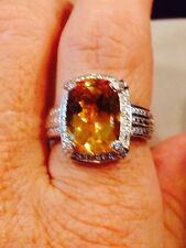 5.75 CT BRAZILIAN CITRINE, CUSHION CUT IN PLATINUM OVER STERLING SILVER, SZ 8