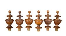 French Antique Set of 6 of Walnut Wood Finials 3 Pairs