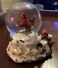 """""""Westland"""" Globe Music Box with Cardinals In The Snow Playing """"Snowbird"""""""