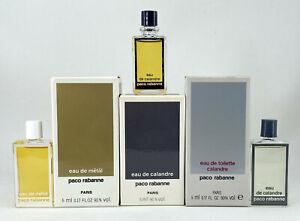 Paco Rabanne Perfume collection Calandre, Mètal, Eau de Calandre 3 units vintage
